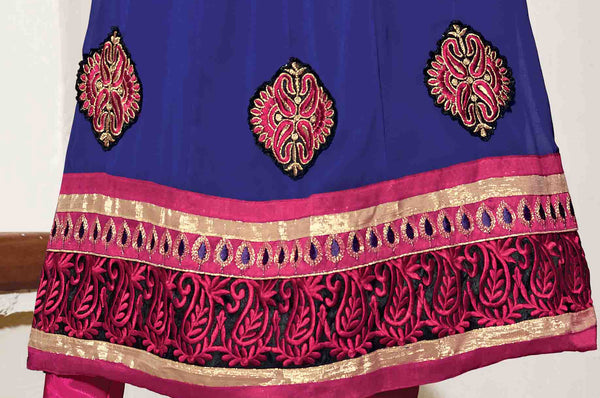 Resplendent Embroidered Anarkali Blue Unstitched Salwar Kameez By atisundar - 4142 - atisundar - 3 - click to zoom