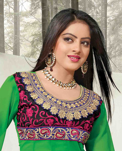 Pretty Embroidered Anarkali Green Unstitched Salwar Kameez By atisundar - 4143 - atisundar - 4