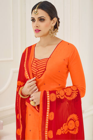 Designer Straight Cut:atisundar delightful Orange Designer Party Wear Straight Cut - 13787