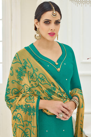 Designer Straight Cut:atisundar marvelous Green Designer Party Wear Straight Cut - 13788