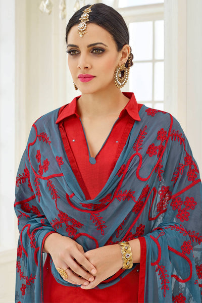 Designer Straight Cut:atisundar Charismatic Red Designer Party Wear Straight Cut - 13789 - click to zoom
