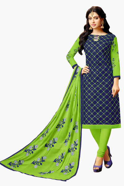 Designer Embroidered Suit With Embroidered Dupatta:atisundar magnificent Blue Designer Embroidered Partywear Suits in Straight Cut - 14503 - click to zoom