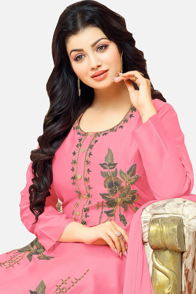 Beautiful Embroidered Cotton Straight Cut Suit:atisundar fair Pink Designer Ready to Stitch Straight Cut Suit - 15530 - click to zoom