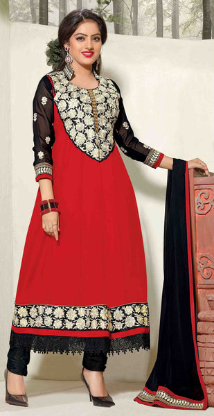 Bewitching Embroidered Anarkali Red Unstitched Salwar Kameez By atisundar - 4150 - atisundar - 3 - click to zoom