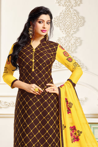 Designer Embroidered Suit With Embroidered Dupatta:atisundar delightful Brown Designer Embroidered Partywear Suits in Straight Cut - 14506