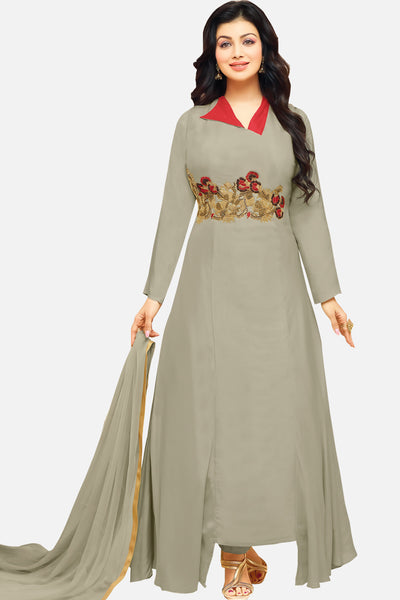 Beautiful Embroidered Cotton Straight Cut Suit:atisundar splendid Grey Designer Ready to Stitch Straight Cut Suit - 15531 - click to zoom