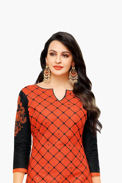 Designer Embroidered Suit With Embroidered Dupatta:atisundar gorgeous Orange Designer Embroidered Partywear Suits in Straight Cut - 14508 - click to zoom