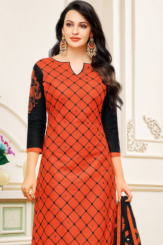 Designer Embroidered Suit With Embroidered Dupatta:atisundar gorgeous Orange Designer Embroidered Partywear Suits in Straight Cut - 14508