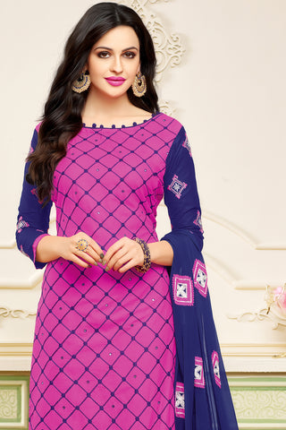 Designer Embroidered Suit With Embroidered Dupatta:atisundar bewitching Pink Designer Embroidered Partywear Suits in Straight Cut - 14509