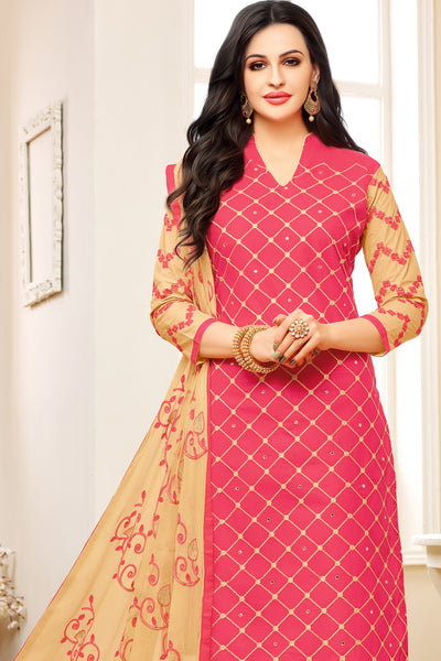 Designer Embroidered Suit With Embroidered Dupatta:atisundar wonderful Pink Designer Embroidered Partywear Suits in Straight Cut - 14514 - click to zoom