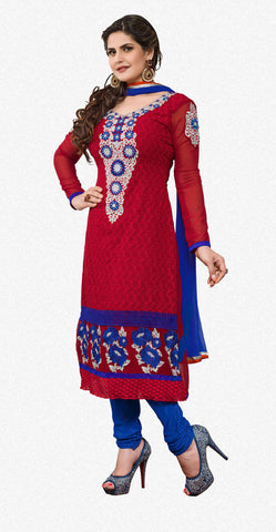 The Zareen Khan Collection:atisundar pretty Red Designer Straight Cut  - 6729 - atisundar - 1 - click to zoom