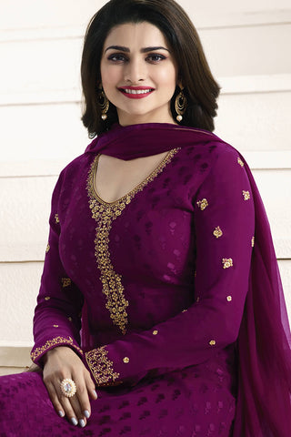 Designer straight Cut:atisundar stunning Purple Designer Party Wear Straight Cut Featuring Prachi Desai - 14220