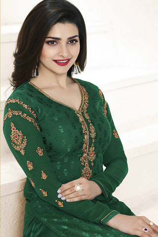 Designer straight Cut:atisundar wonderful Green Designer Party Wear Straight Cut Featuring Prachi Desai - 14221