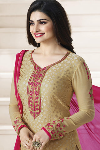 Designer straight Cut:atisundar radiant Brown Designer Party Wear Straight Cut Featuring Prachi Desai - 14223