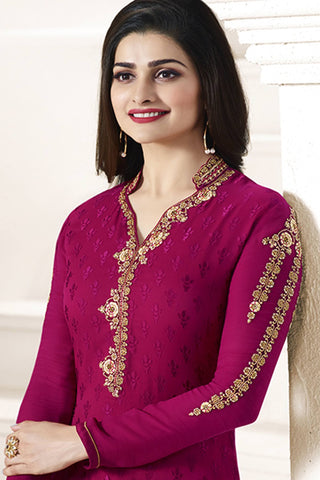 Designer straight Cut:atisundar radiant Pink Designer Party Wear Straight Cut Featuring Prachi Desai - 14226