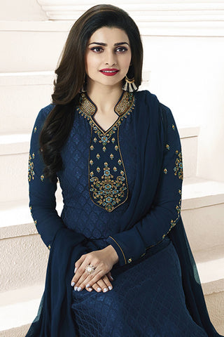 Designer straight Cut:atisundar exquisite Blue Designer Party Wear Straight Cut Featuring Prachi Desai - 14227