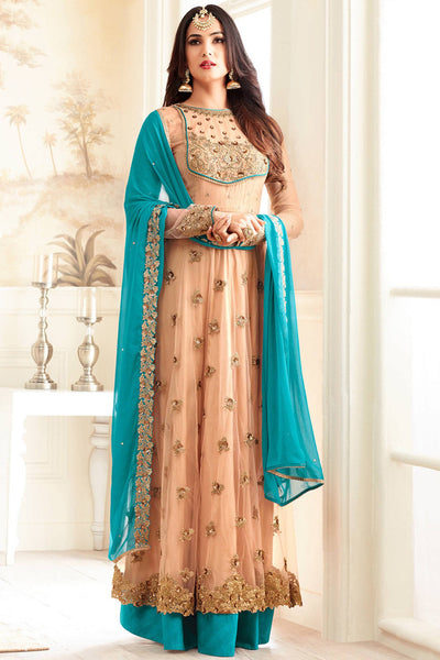 Designer Anarkali:atisundar appealing Peach Designer Party Wear Anarkali - 14209 - click to zoom