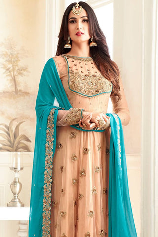 Designer Anarkali:atisundar appealing Peach Designer Party Wear Anarkali - 14209