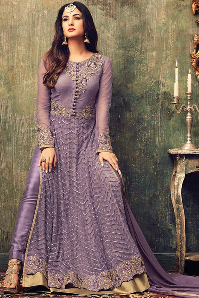 Abaya Style Net Anarkali With Embroidery And Stone Work:atisundar graceful Purple Party Wear Semi Stitched Anarkali - 15339 - click to zoom