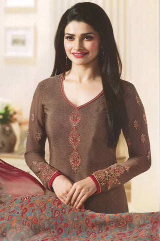 Designer Straight Cut:atisundar comely Brown Designer Party Wear Straight Cut Featuring Prachi Desai - 14228