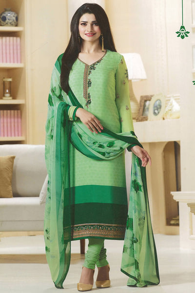 Designer Straight Cut:atisundar Charismatic Green Designer Party Wear Straight Cut Featuring Prachi Desai - 14231 - click to zoom