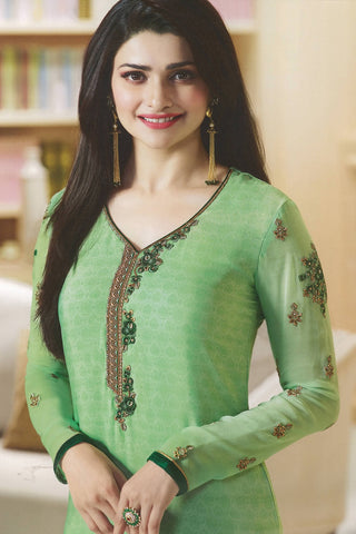 Designer Straight Cut:atisundar Charismatic Green Designer Party Wear Straight Cut Featuring Prachi Desai - 14231