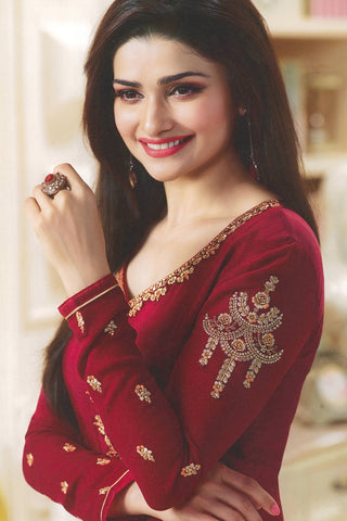 Designer Straight Cut:atisundar delightful Red Designer Party Wear Straight Cut Featuring Prachi Desai - 14232