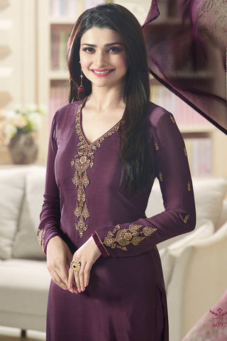 Designer Straight Cut:atisundar fair Purple Designer Party Wear Straight Cut Featuring Prachi Desai - 14234