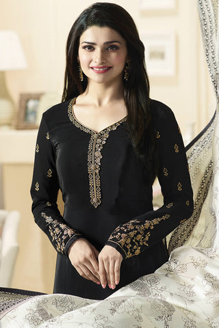 Designer Straight Cut:atisundar Alluring Black Designer Party Wear Straight Cut Featuring Prachi Desai - 14236