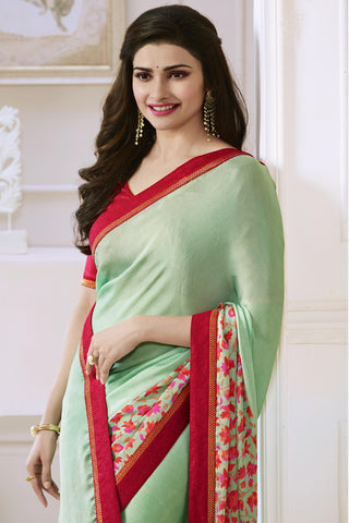 Designer Saree:atisundar fascinating Designer Party Wear Saree Featuring Prachi Desai in Green  - 13738