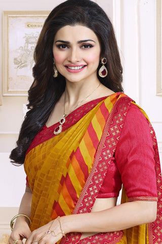 Designer Saree:atisundar angelic Designer Party Wear Saree Featuring Prachi Desai in Yellow  - 13740