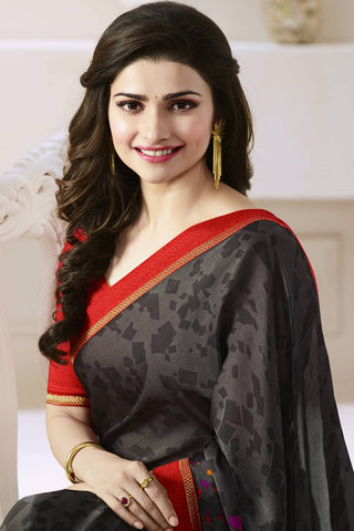 Designer Saree:atisundar exquisite Designer Party Wear Saree Featuring Prachi Desai in Black  - 13742