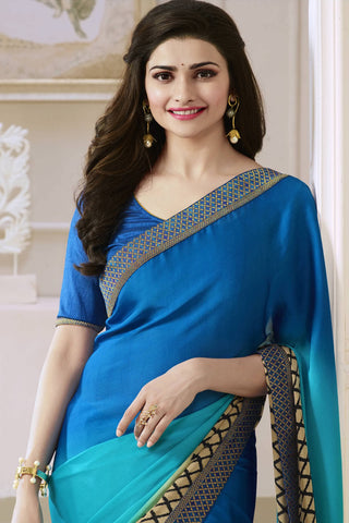 Designer Saree:atisundar Attractive Designer Party Wear Saree Featuring Prachi Desai in Blue  - 13743
