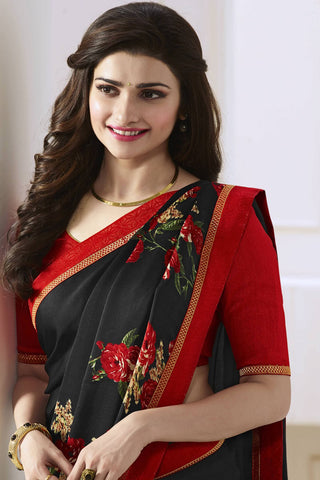 Designer Saree:atisundar pretty Designer Party Wear Saree Featuring Prachi Desai in Black  - 13745