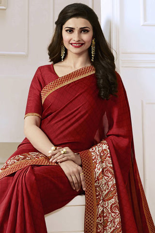 Designer Saree:atisundar delicate Designer Party Wear Saree Featuring Prachi Desai in Maroon  - 13746