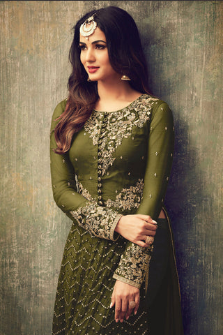 Abaya Style Net Anarkali With Embroidery And Stone Work:atisundar Beautiful Mehndi Green Party Wear Semi Stitched Anarkali - 15340