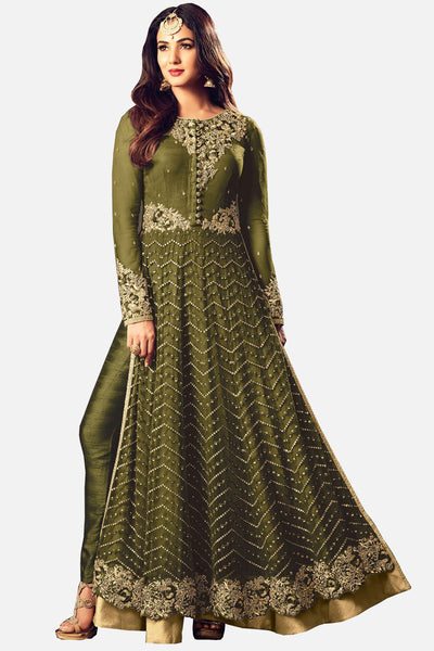 Abaya Style Net Anarkali With Embroidery And Stone Work:atisundar Beautiful Mehndi Green Party Wear Semi Stitched Anarkali - 15340 - click to zoom