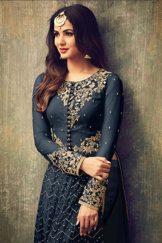 Abaya Style Net Anarkali With Embroidery And Stone Work:atisundar marvelous Navy Blue Party Wear Semi Stitched Anarkali - 15341