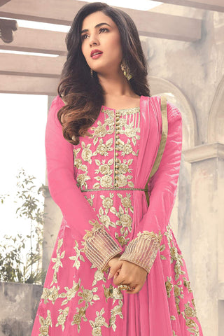 Abaya Style Net Anarkali With Embroidery And Stone Work:atisundar Lovely Pink Bollywood Embroidered Anarkali - 15500