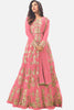 Abaya Style Net Anarkali With Embroidery And Stone Work:atisundar wonderful Pink Bollywood Embroidered Anarkali - 15501 - click to zoom