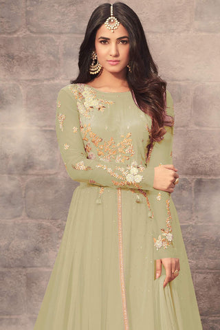 Abaya Style Net Anarkali With Embroidery And Stone Work:atisundar enticing Olive Green Bollywood Embroidered Anarkali - 15503