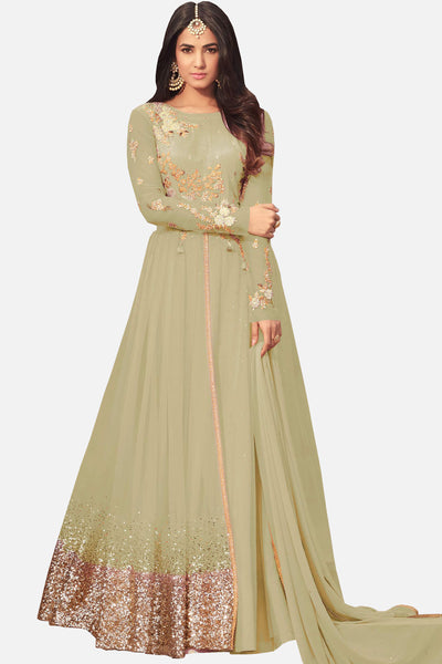4457528ff5c6 Abaya Style Net Anarkali With Embroidery And Stone Work atisundar enticing Olive  Green Bollywood Embroidered