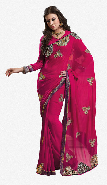 Excellent Chiffon Saree In Red - atisundar - 2 - click to zoom