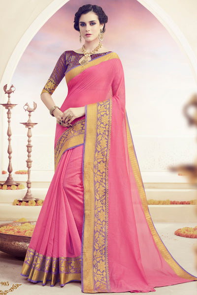 Designer Spun Polyster Saree:atisundar Awesome Designer Party Wear Sarees in Pink  - 14876 - click to zoom