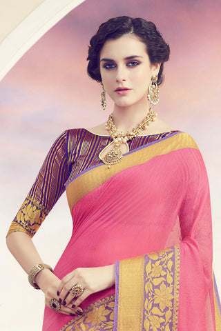Designer Spun Polyster Saree:atisundar Awesome Designer Party Wear Sarees in Pink  - 14876