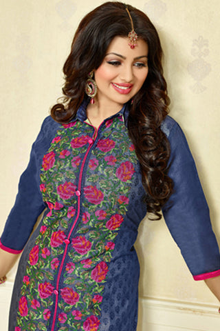 The Ayesha Takia Collection:atisundar Charismatic Blue Designer Party Wear Embroidered Straight Cut Featuring Ayesha Takia - 12172 - atisundar - 5