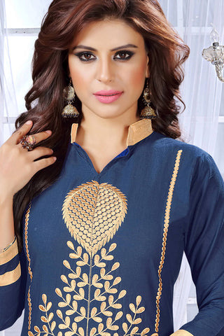 Designer Straight Cut:atisundar delicate Blue Embroidered Cotton Suits - 13088