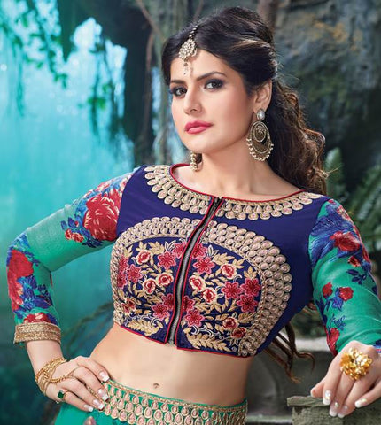 The Zarine Khan Collection:atisundar resplendent Bhagalpuri embroidered Party Wear Lehenga in Blue - 9554 - atisundar - 3