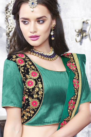 Designer Saree:atisundar charming Designer Party Wear Saree With Lace in Green  - 13267