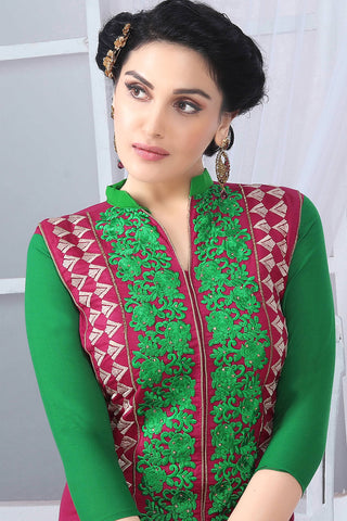 Designer Straight Cut:atisundar bewitching Green And Pink Embroidered Cotton Suits - 13090